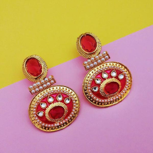 Kriaa Kundan Pink Meenakari Gold Plated Dangler Earrings