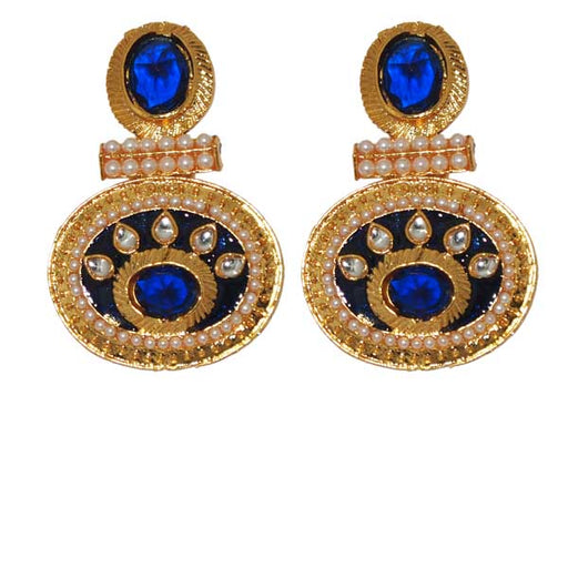 Kriaa Pearl Blue Austrian Stone Gold Plated Dangler Earrings