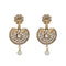 Kriaa Gold Plated White Austrian Stone And Pearl Dangler Earrings