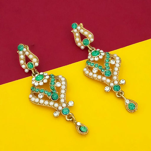 Kriaa Green Stone Gold Plated Dangler Earrings
