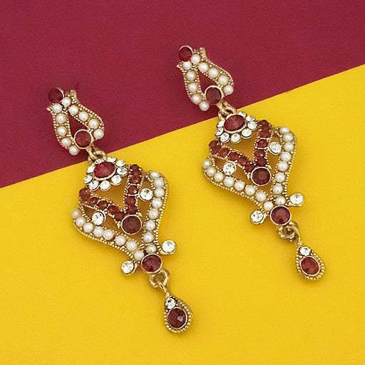 Kriaa Brown Stone Gold Plated Dangler Earrings