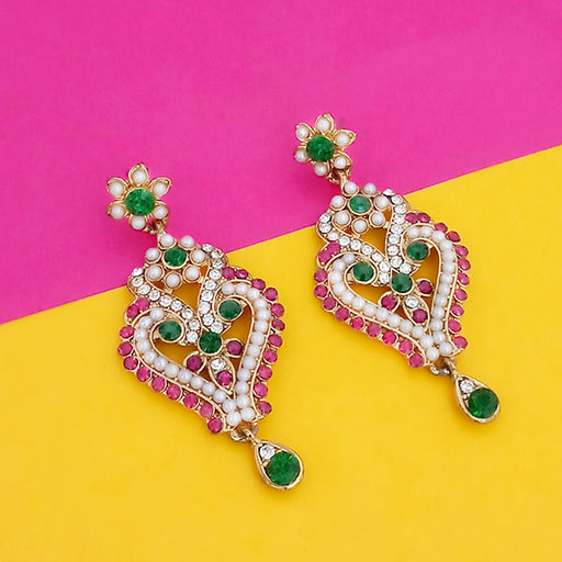 Kriaa Gold Plated Pink Green Stone Dangler Earrings