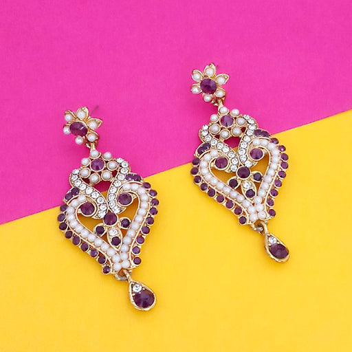 Kriaa Purple Stone Gold Plated Dangler Earrings