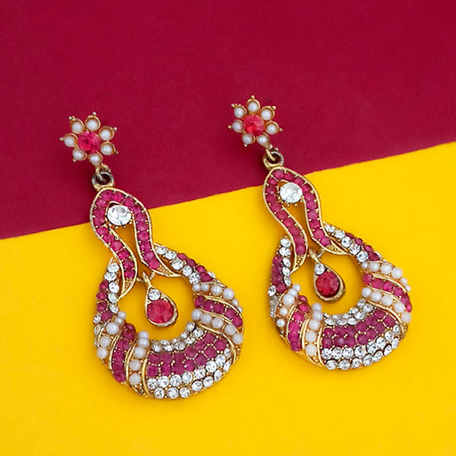 Kriaa Gold Plated Pink Austrian Stone Dangler Earrings