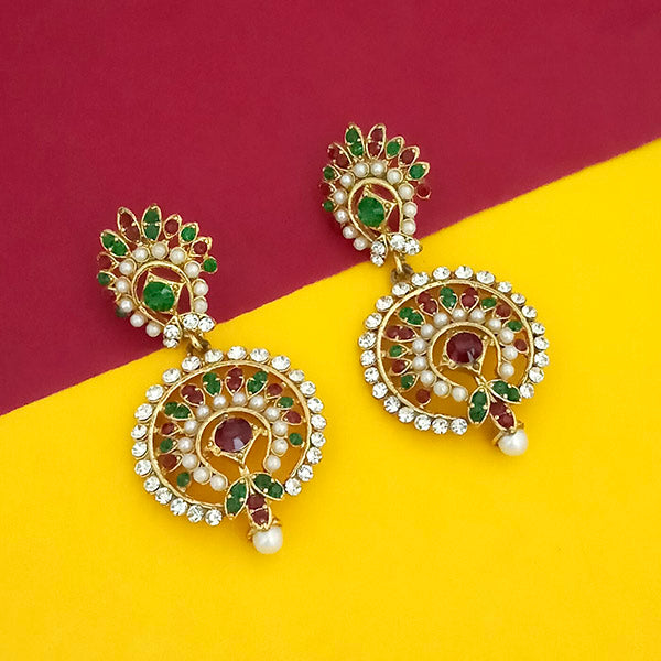 Kriaa Maroon Green Austrian Stone Gold Plated Dangler Earrings