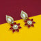 Kriaa Maroon Stone Gold Plated Dangler Earrings