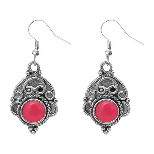 Urthn Pink Pota Stone Silver Plated Dangler Earrings