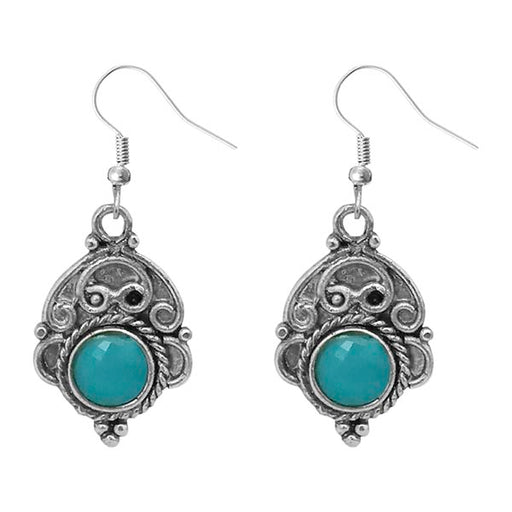 Urthn Blue Crystal Stone Silver Plated Dangler Earrings