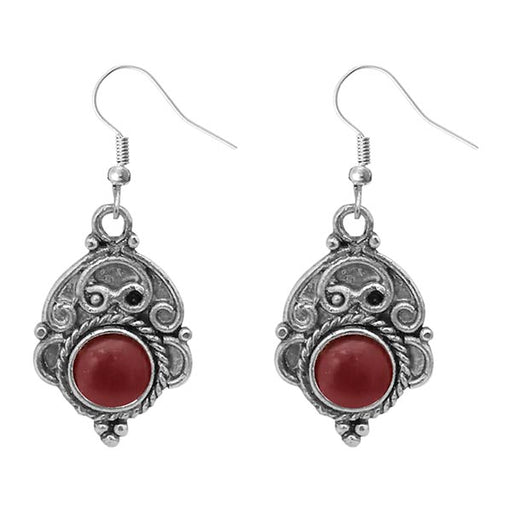 Urthn Silver Plated Maroon Pota Stone Dangler Earrings