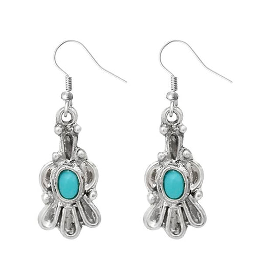 Urthn Silver Plated Blue Pota Stone Dangler Earrings