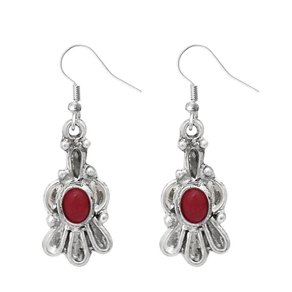 Urthn Maroon Pota Stone Silver Plated Dangler Earrings