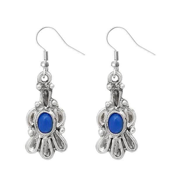 Urthn Blue Pota Stone Silver Plated Dangler Earrings