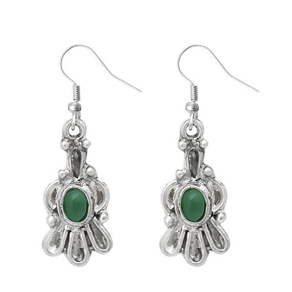 Urthn Silver Plated Green Pota Stone Dangler Earrings