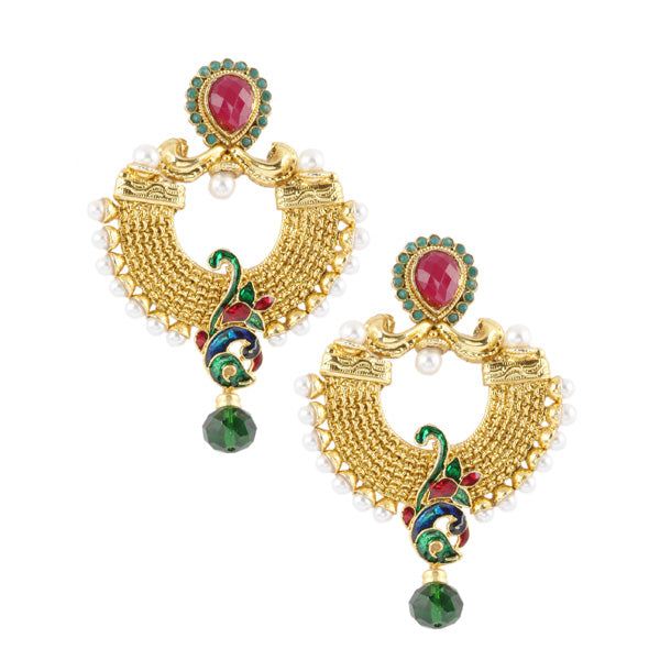 Kriaa Meenakari Stone Peacock Design Dangler Earrings