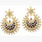 Kriaa Kundan Blue Austrian Stone Pearl Dangler Earrings