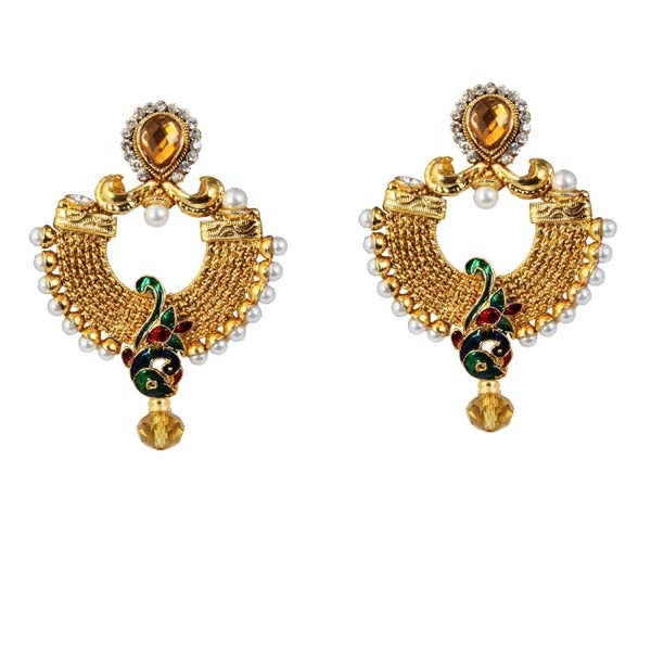 Kriaa Austrian Stone Pearl Green Meenakari Peacock Earrings