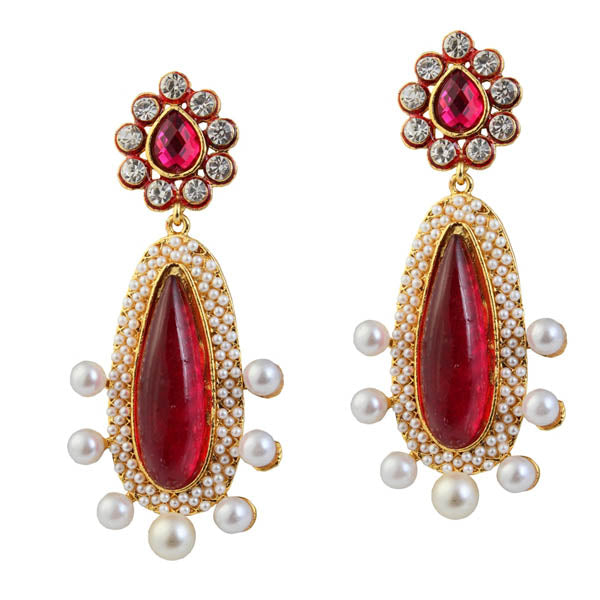 Kriaa Red Austrian Stone Pearl Gold Plated Dangler Earrings