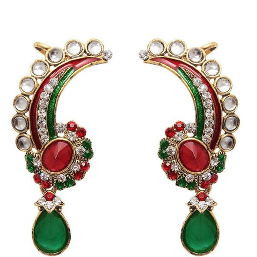 The99Jewel Kundan Red Stone Meenakari Dangler Earrings