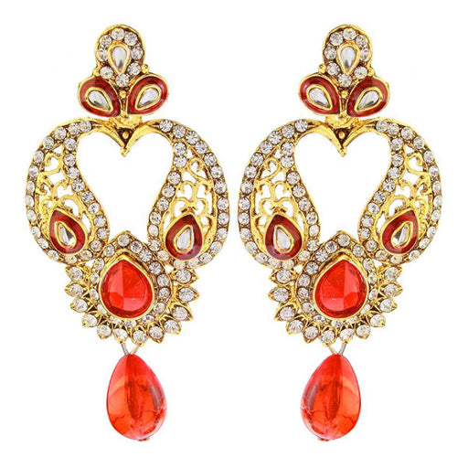 The99Jewel Gold Plated Red Austrian Stone Dangler Earrings