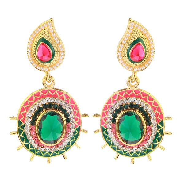 Kriaa Gold Plated Pink And Green Meenakari Austrian Stone Dangler Earrings