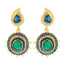 Kriaa Green Meenakari Austrian Stone Dangler Earrings