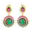 Kriaa Pink And Green Meenakari Gold Plated Dangler Earrings