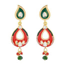 Kriaa Red And Green Meenakari Kundan Dangler Earrings