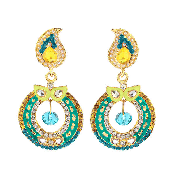 Kriaa Blue Meenakari Gold Plated Dangler Earrings