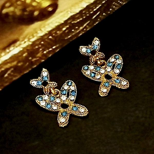Kriaa Blue Austrian Stone Gold Plated Dangler Earrings - 1304737G