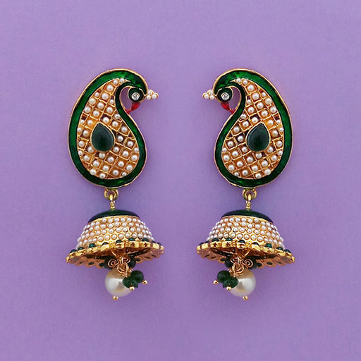 Kriaa Green Meenakari Peacock Gold Plated Earrings