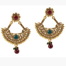 Kriaa Maroon & Green Pota Stone Dangler Earrings