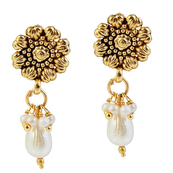 The99Jewel Pearl Drop Antique Gold Plated  Stud Earrings