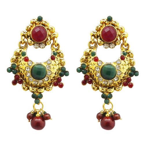 Kriaa Maroon And Green Stone Gold Plated Dangler Earrings