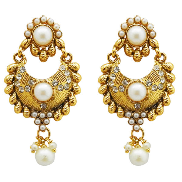 Kriaa White Pearl Austrian Stone Dangler Earrings