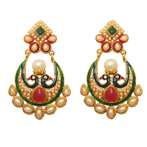 Kriaa Multicolor Gold Plated Dangler Peacock Earrings