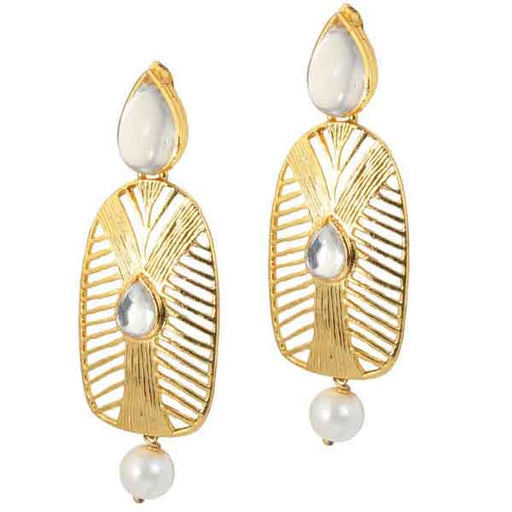 Kriaa Kundan Gold Plated Pearl Drop Dangler Earrings