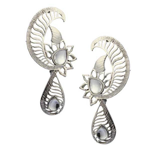 Aurum Kundan Rhodium Plated Dangler Earrings