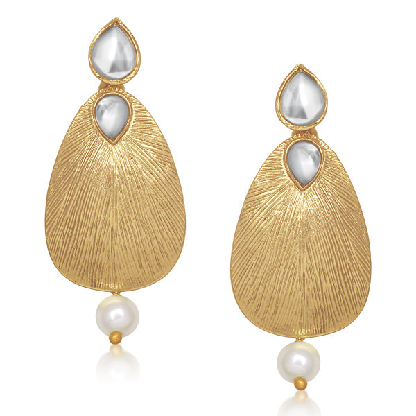 Aurum Kundan Pearl Drop Gold Plated Dangler Earrings