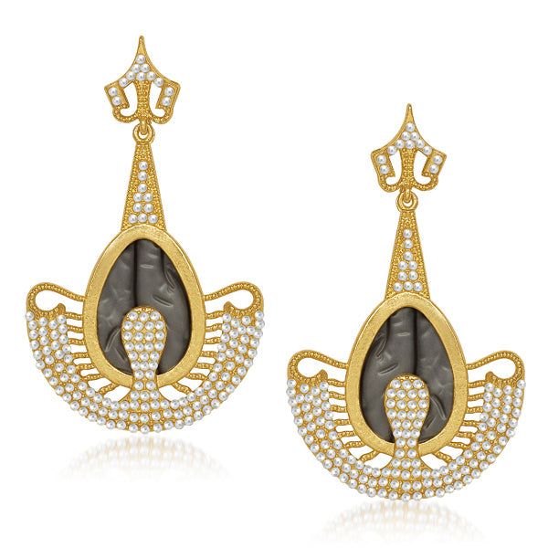 Kriaa Pearl Grey Resin Gold Plated Dangler Earrings