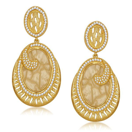 Kriaa Pearl Yellow Resin Gold Plated Dangler Earrings