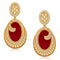Kriaa Maroon Resin Stone Pearl Dangler Earrings