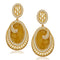 Kriaa Pearl Brown Resin Gold Plated Dangler Earrings