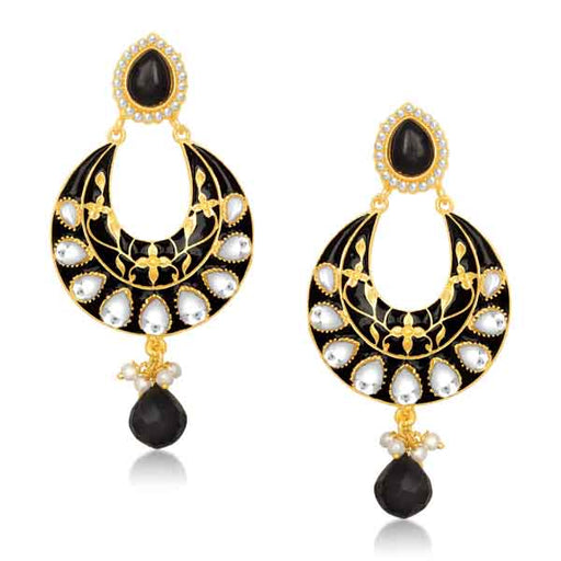 Kriaa Meenakari Gold Plated Kundan Chandbali Earrings