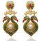 Kriaa Gold Plated Pearl Meenakari Peacock Dangler Earrings