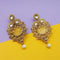 Kriaa Kundan Resin Pearl Gold Plated Dangle Earrings