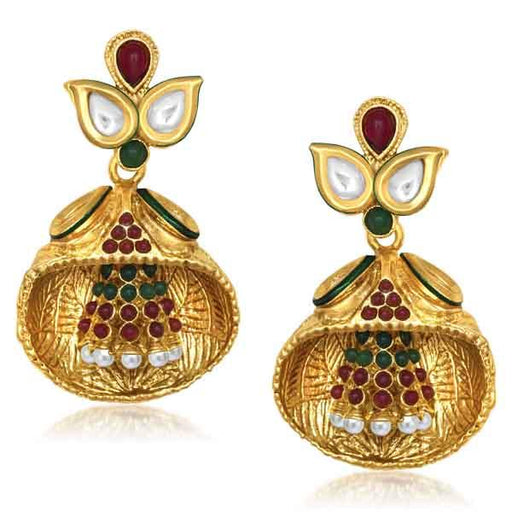Kriaa Gold Plated Pota Stone Meenakari Dangler Earrings