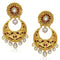 Kriaa Kundan Gold Plated Pearl Chandbali Earrings
