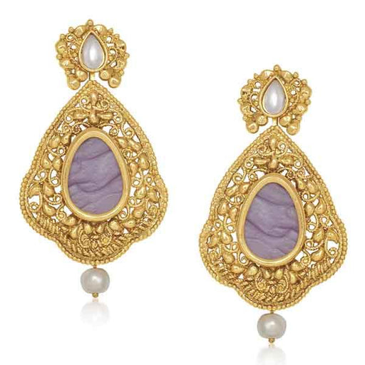 Kriaa Purple Resin Stone Gold Plated Dangler Earrings
