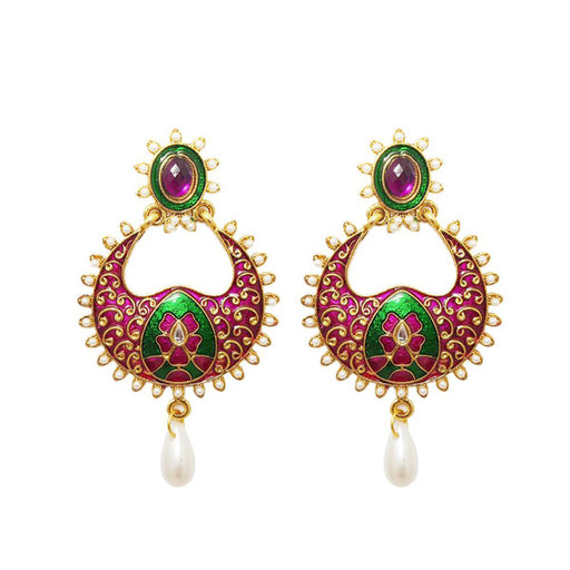 Kriaa Gold Plated Meenakari Stone Drop Dangler Earrings