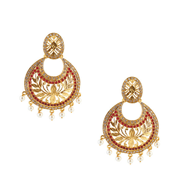 Kriaa Gold Plated Austrian Stone Chandbali Earrings